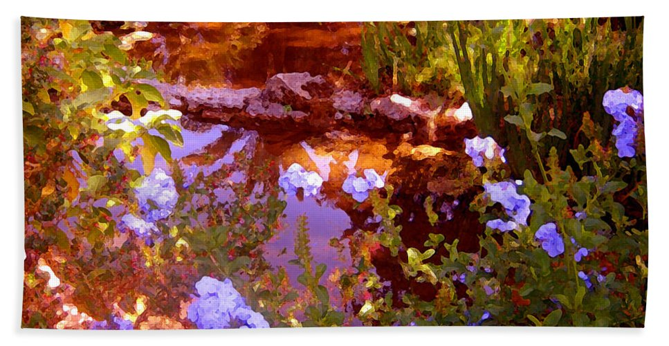 Landscapes Bath Sheet featuring the painting Garden Pond by Amy Vangsgard