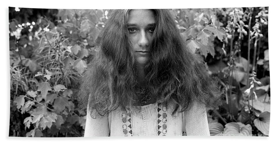Black-white Hand Towel featuring the photograph Garden Portrait 1979 by Ed Weidman