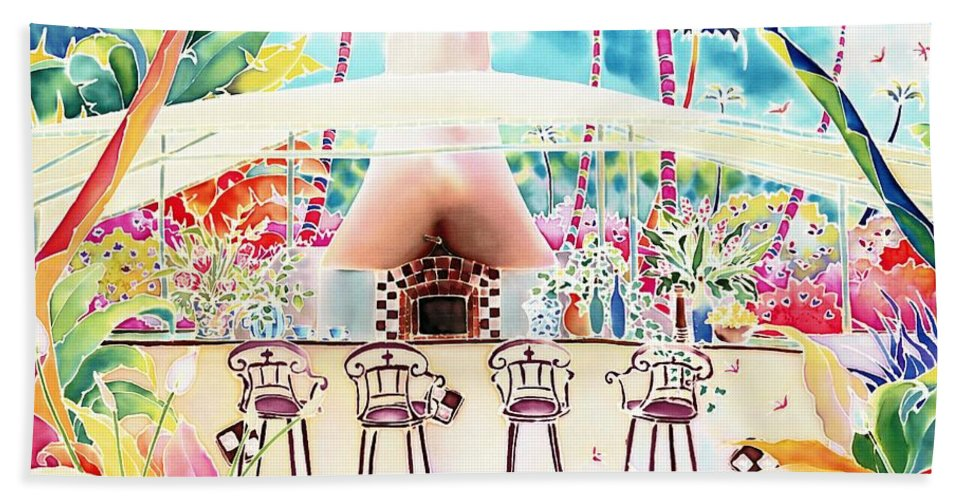 Garden Hand Towel featuring the painting Garden Restaurant by Hisayo Ohta