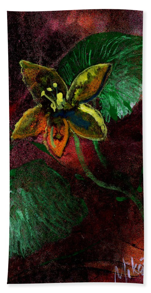 Flower Hand Towel featuring the painting Garden Romance by Miko At The Love Art Shop