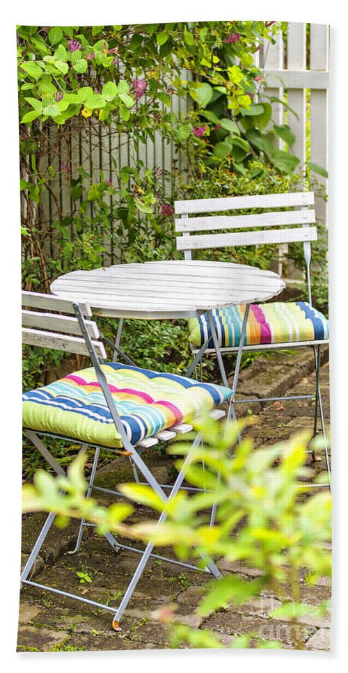 Outdoor Hand Towel featuring the photograph Garden Seating Area by Sophie McAulay