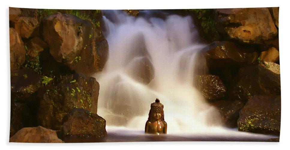 Garden Waterfall Bath Sheet featuring the photograph Garden Waterfall by Ellen Henneke