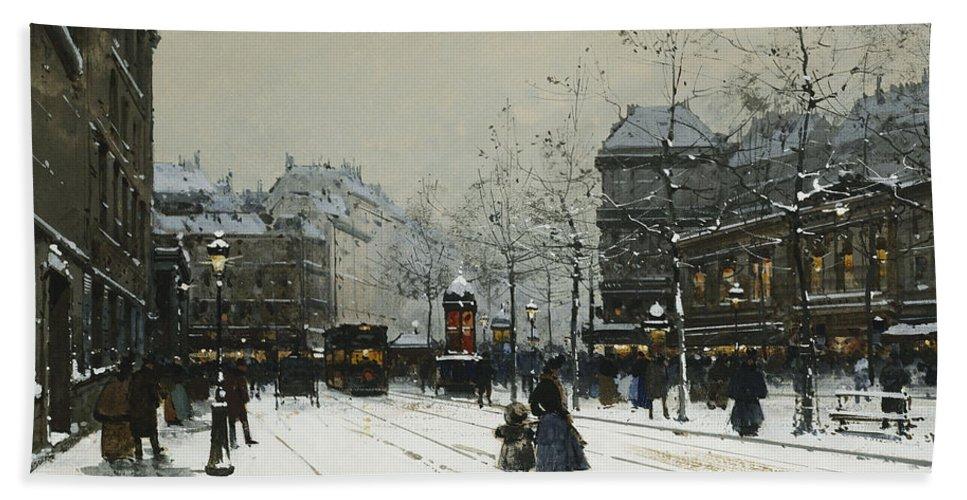 Child Bath Towel featuring the painting Gare Du Nord Paris by Eugene Galien-Laloue
