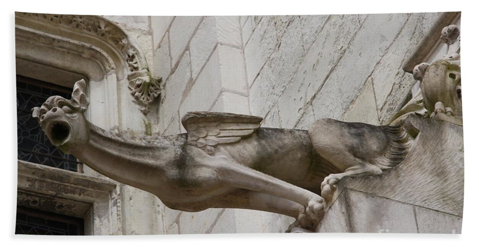 Gargole Hand Towel featuring the photograph Gargoyle Cathedral Tours by Christiane Schulze Art And Photography