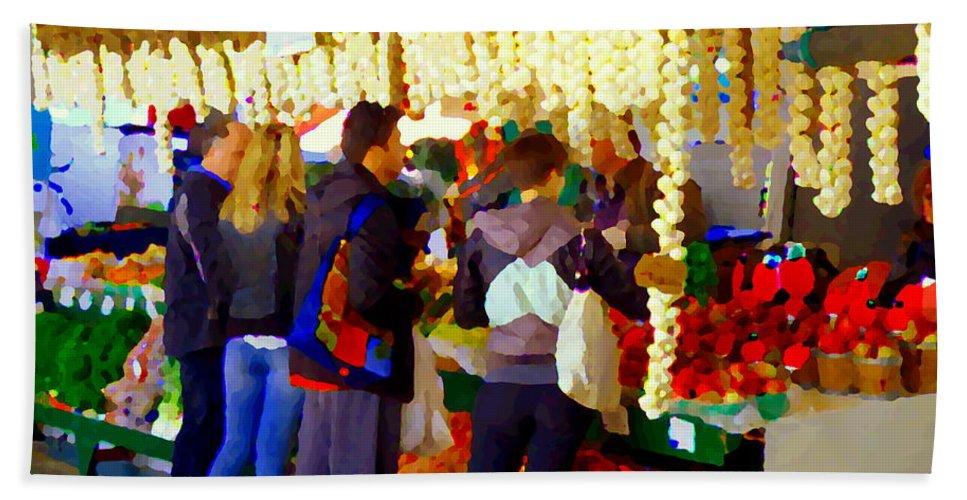 Markets Bath Sheet featuring the painting Garlic Festival Farmers Market Food Vendors Onions Garlic Farm Fresh Chef Art Carole Spandau by Carole Spandau