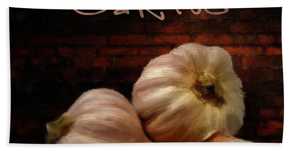 Onion Bath Sheet featuring the digital art Garlic II by Lourry Legarde