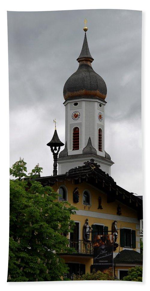 Church Hand Towel featuring the photograph Garmisch Partenkirchen by Christiane Schulze Art And Photography