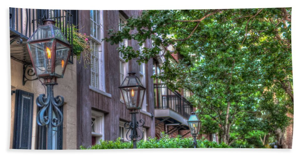Charleston Hand Towel featuring the photograph Gas Light Glow by Dale Powell