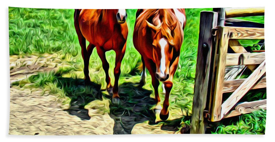Horses Bath Sheet featuring the photograph Gate Horse by Alice Gipson