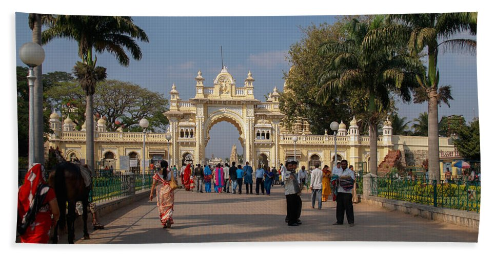 Entrance Gate Hand Towel featuring the digital art Gate To Maharaja's Palace India Mysore by Carol Ailles