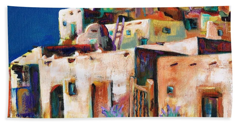Adobe Bath Sheet featuring the painting Gateway Into The Pueblo by Frances Marino