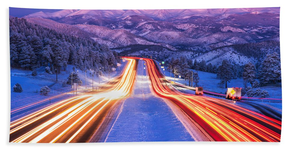 Snow Bath Towel featuring the photograph Gateway to the Rockies by Darren White