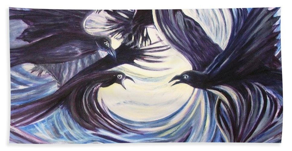Birds Hand Towel featuring the painting Gathering Of The Ravens by Caroline Street