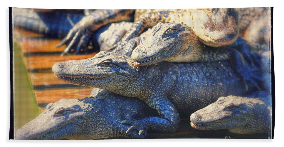Gator Bath Sheet featuring the photograph Gator Pals by Carol Groenen