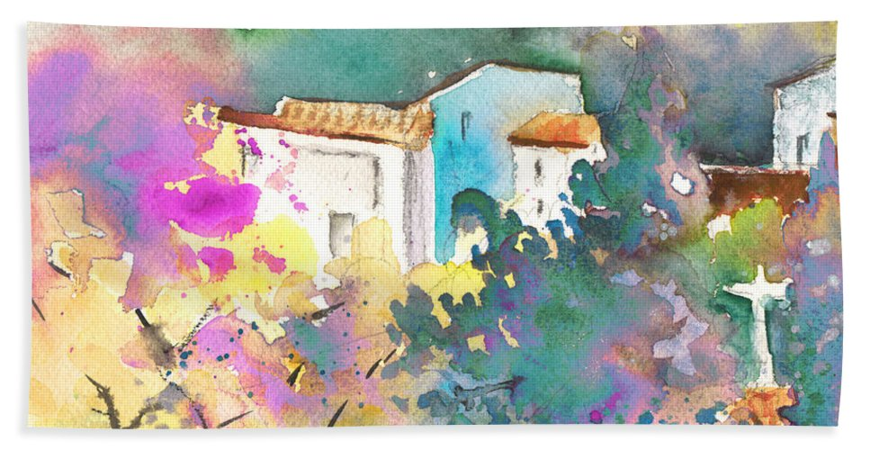 Travel Hand Towel featuring the painting Gatova Spain 01 by Miki De Goodaboom