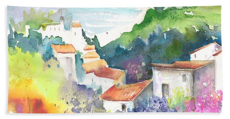 Spain Bath Sheet featuring the painting Gatova Spain 03 by Miki De Goodaboom