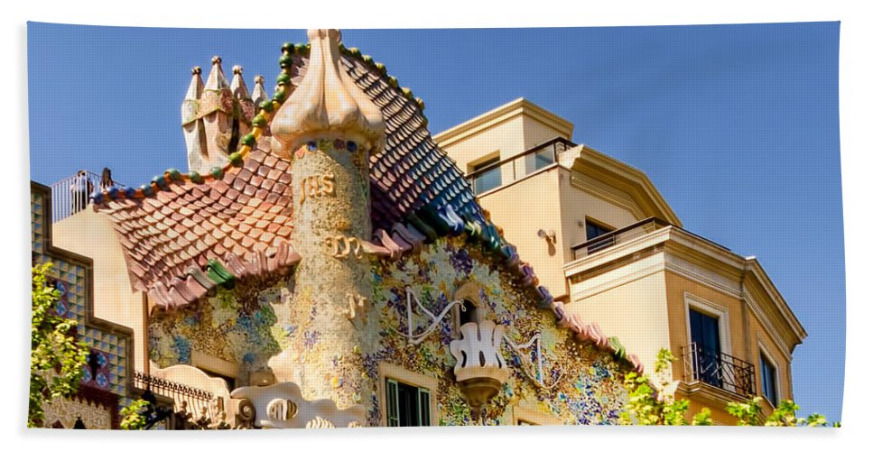 Casa Batllo Bath Sheet featuring the photograph Gaudi Apartment by Jon Berghoff