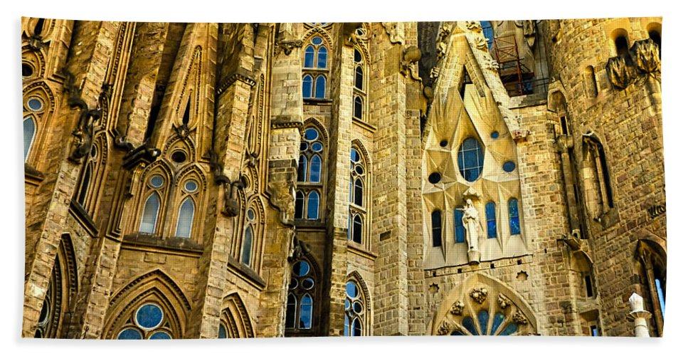 Sagrada Familia Hand Towel featuring the photograph Gaudi - Sagrada Familia by Jon Berghoff