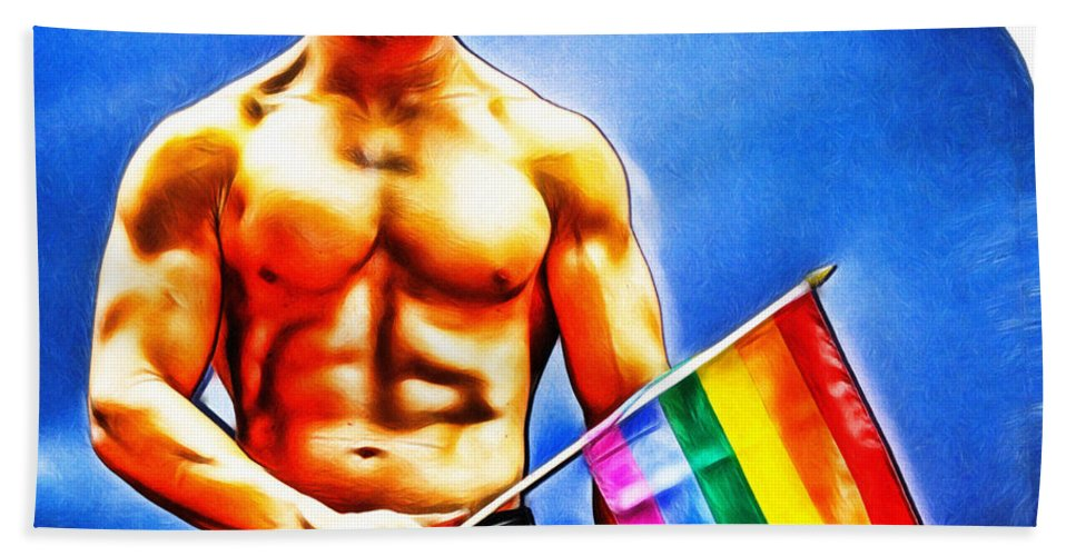 Gay Hand Towel featuring the digital art Gay Pride by Nishanth Gopinathan