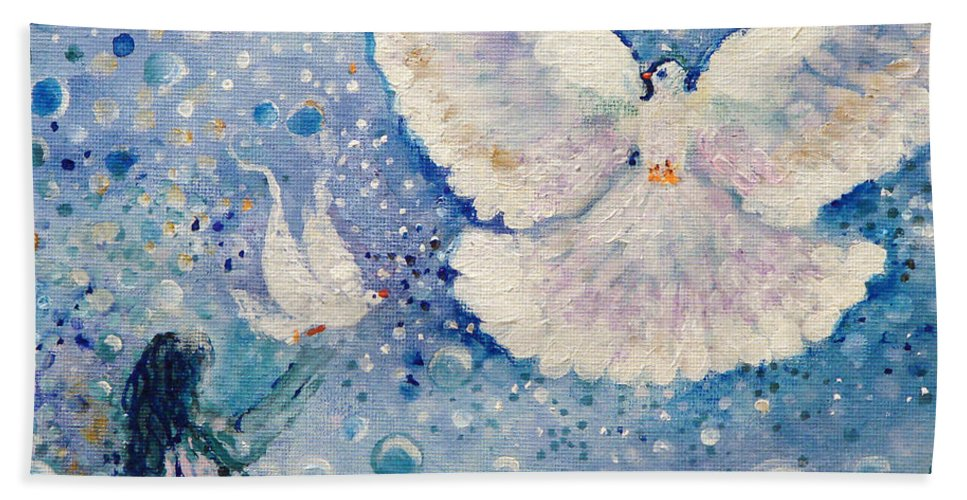 Dove Bath Sheet featuring the painting Gaze Is Clear by Ashleigh Dyan Bayer