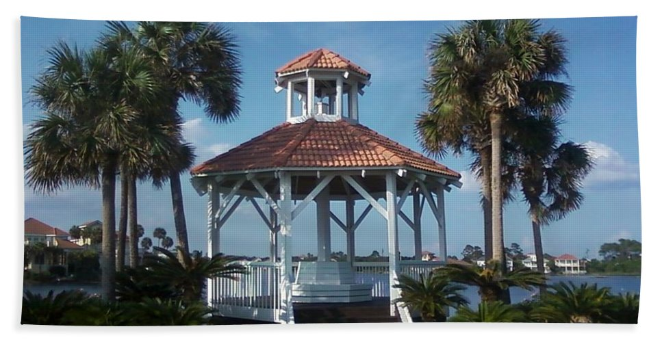 Landscape Hand Towel featuring the photograph Gazebo by Michelle Powell