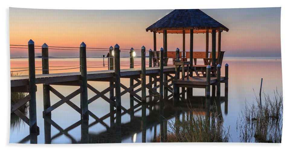 Gazebo Hand Towel featuring the photograph Gently - Gazebo On The Sound Outer Banks North Carolina by Carol VanDyke