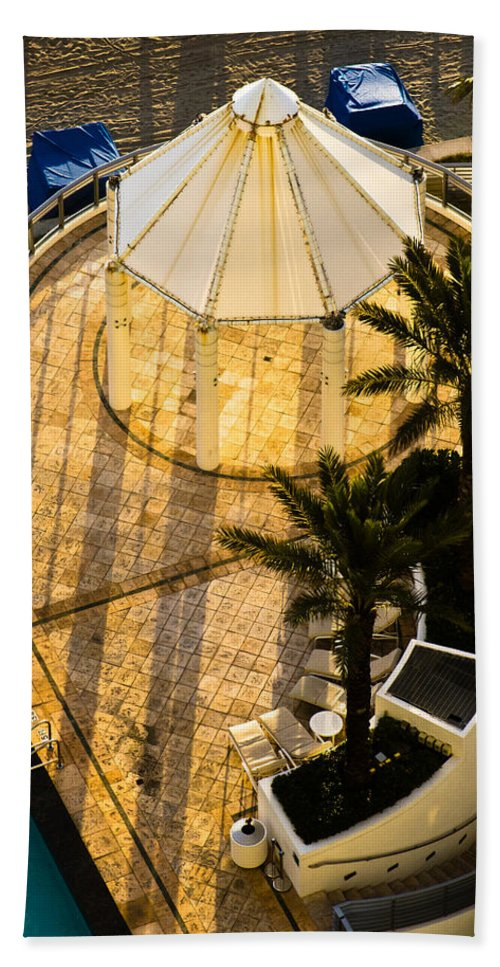 Beach Hand Towel featuring the photograph Gazebo Shadow Lines by Ed Gleichman