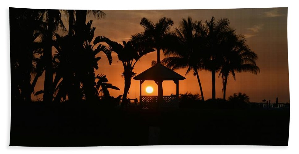 Sunset Bath Sheet featuring the photograph Gazebo Silhouette by Jeannine Rose