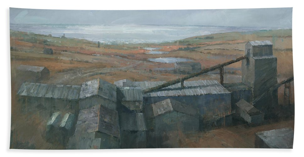 Industrial Bath Sheet featuring the painting Geevor Tin Mine by Steve Mitchell