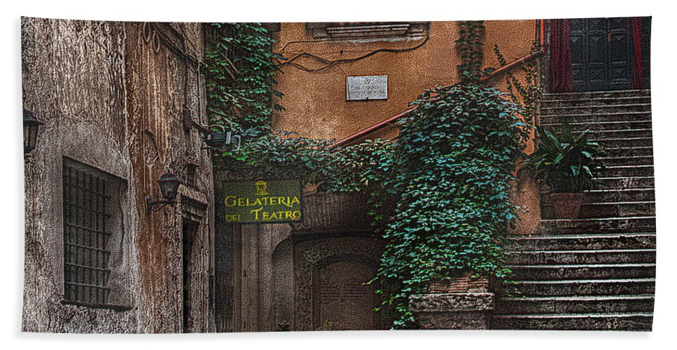 Gelateria Hand Towel featuring the photograph Gelateria Del Teatro by Hanny Heim
