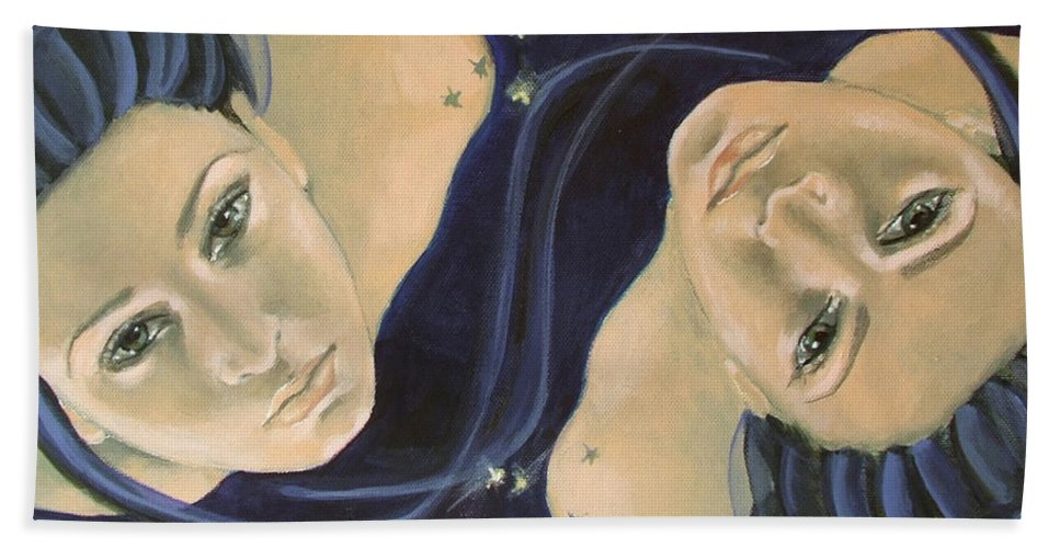 Constellation Bath Sheet featuring the painting Gemini From Zodiac Series by Dorina Costras