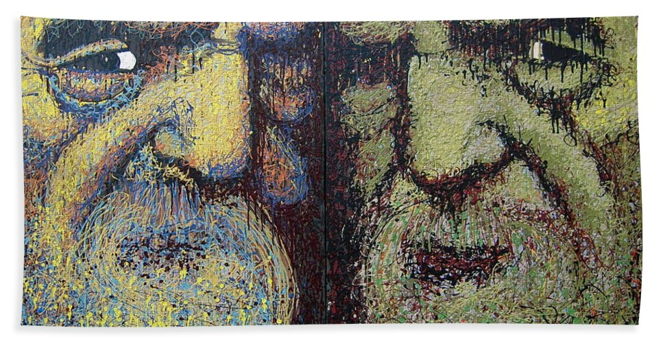 Urban Hand Towel featuring the painting Gemini by Kate Tesch