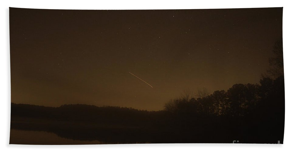 Meteor Hand Towel featuring the photograph Geminid Meteor Shower by Donna Brown