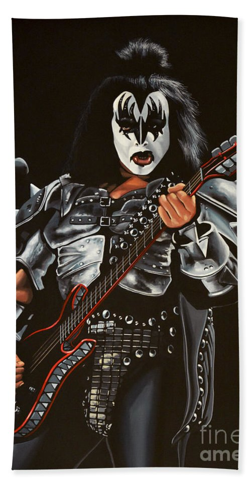 Kiss Hand Towel featuring the painting Gene Simmons Of Kiss by Paul Meijering