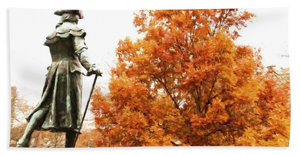 Statue Hand Towel featuring the photograph General In Fall Splendor by Alice Gipson