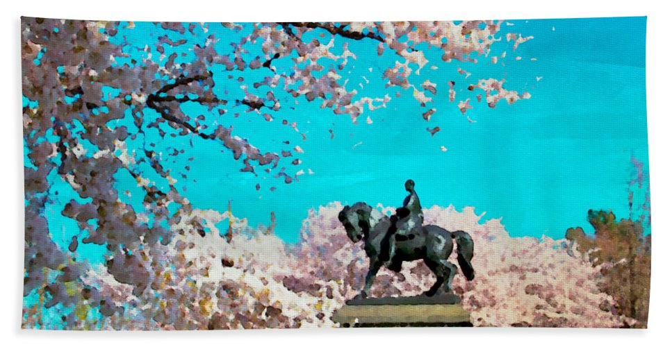 Cherry Blossoms Bath Sheet featuring the photograph General In The Blossoms by Alice Gipson