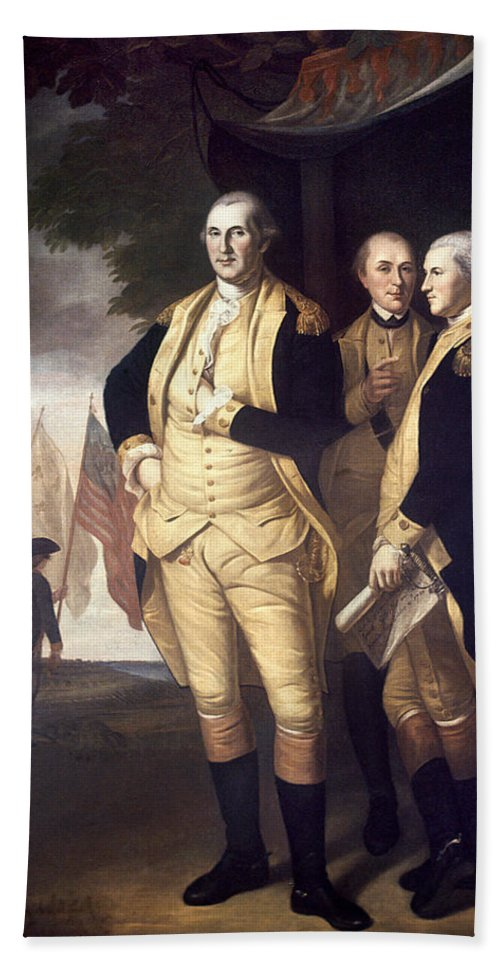 1781 Hand Towel featuring the photograph Generals At Yorktown, 1781 by Granger