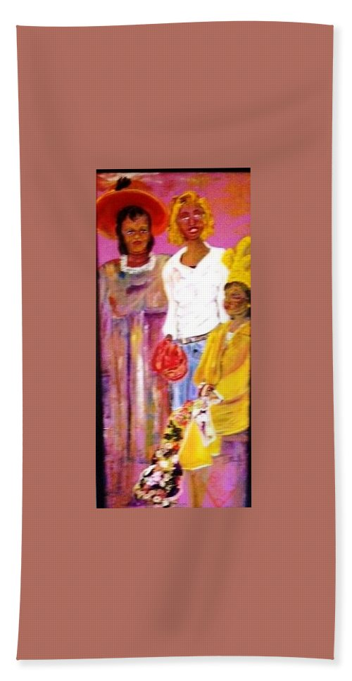 Family Bath Towel featuring the painting Generations by Peggy Blood