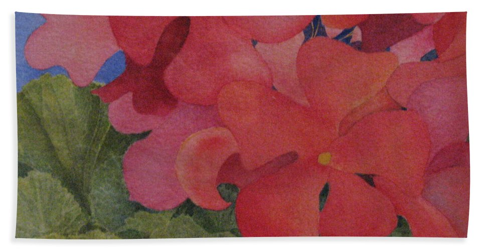 Florals Bath Sheet featuring the painting Generium by Mary Ellen Mueller Legault