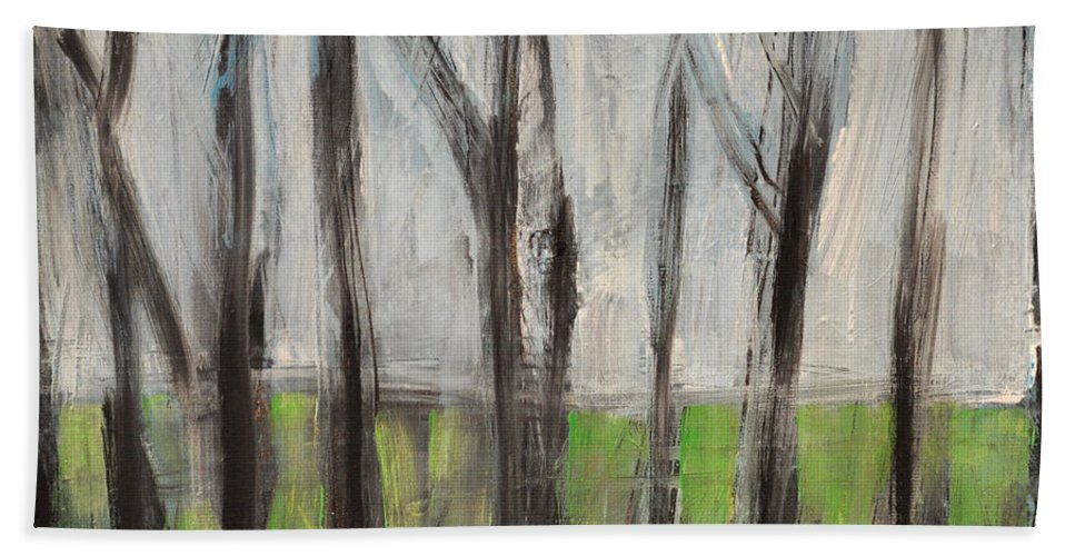 Trees Bath Sheet featuring the painting Gentle Rain by Tim Nyberg