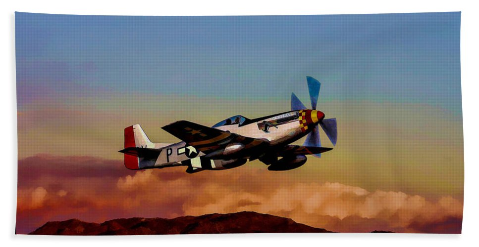 North American P-51d Mustang Bath Sheet featuring the digital art Gentleman Jim by Tommy Anderson