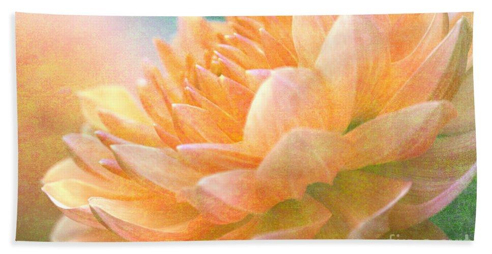 Gently Textured Dahlia Bath Sheet featuring the digital art Gently Textured Dahlia by Femina Photo Art By Maggie