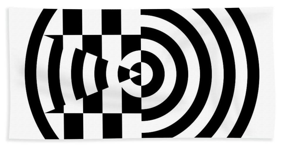 Black Bath Sheet featuring the digital art Geomentric Circle 3 by Amy Kirkpatrick