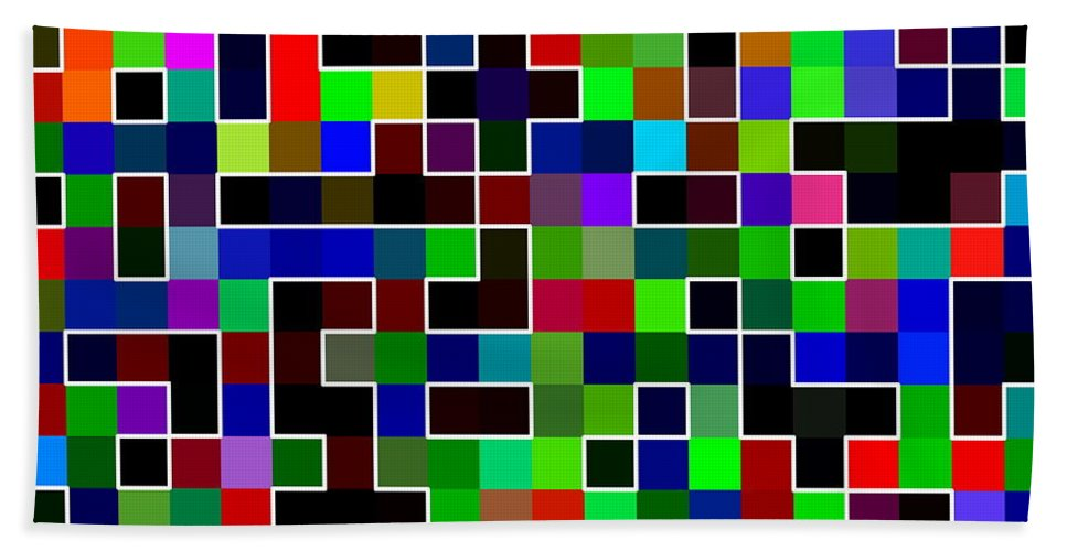 Blocks Hand Towel featuring the digital art Geometric Pattern 2 by Ron Hedges