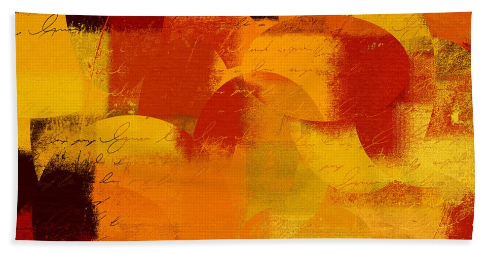 Orange Bath Sheet featuring the digital art Geomix 05 - 01at01b by Variance Collections