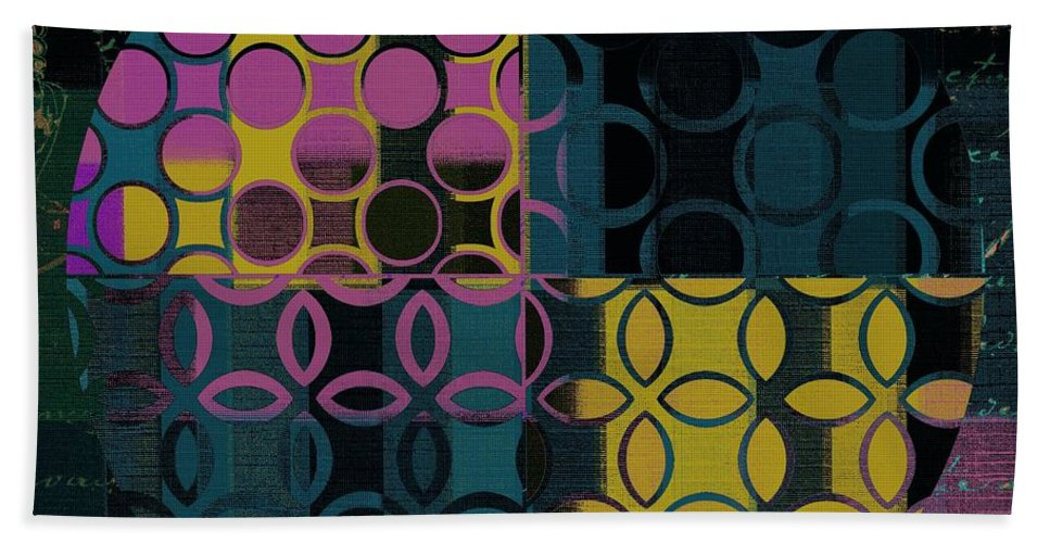 Black Bath Sheet featuring the digital art Geomix 14 - J049173176b2t by Variance Collections