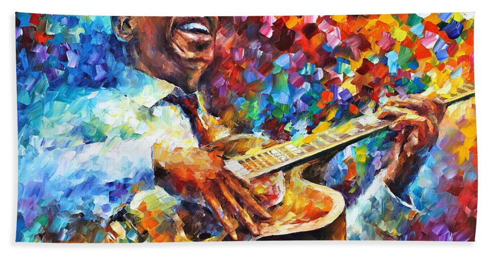George Benson Bath Sheet featuring the painting Wes Montgomery by Leonid Afremov
