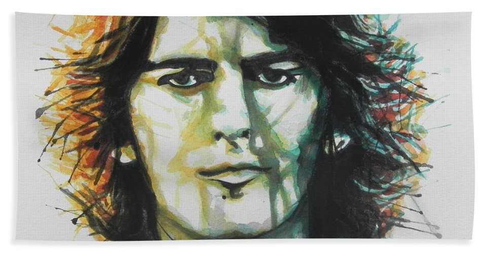 Watercolor Painting Bath Sheet featuring the painting George Harrison 01 by Chrisann Ellis