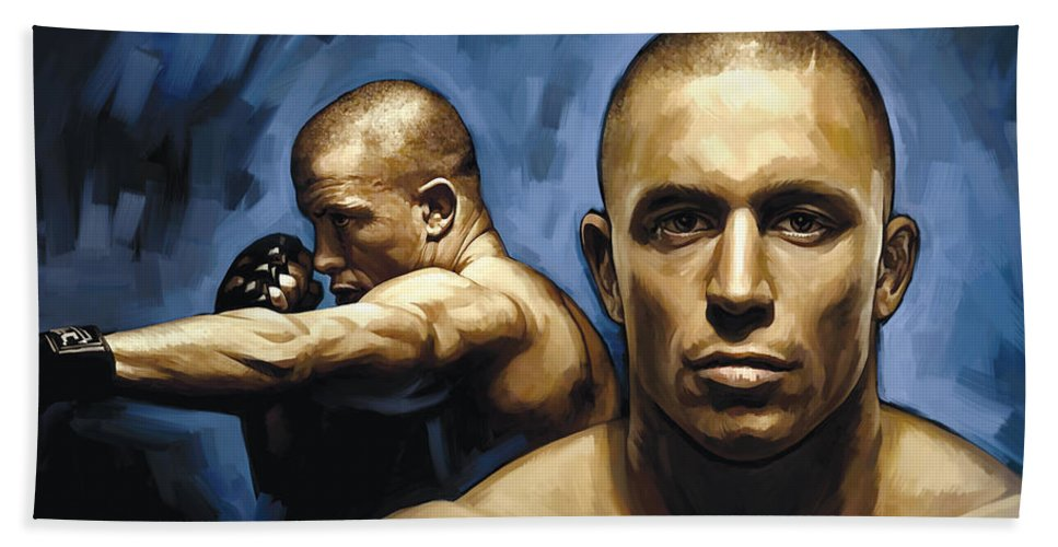 Georges St-pierre Paintings Bath Sheet featuring the painting Georges St-pierre Artwork by Sheraz A