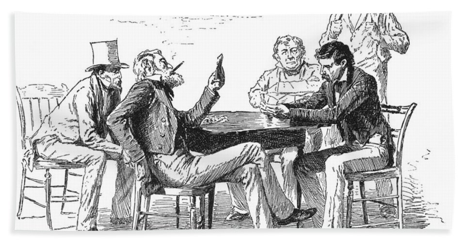1840s Bath Sheet featuring the photograph Georgia: Poker Game, 1840s by Granger